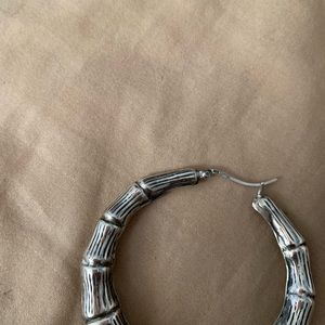Jewelry - Bamboo Sterling Silver Hoop Earrings